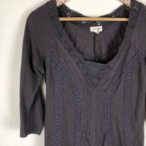 Anthropologie Meadow Rue dark gray lace blouse